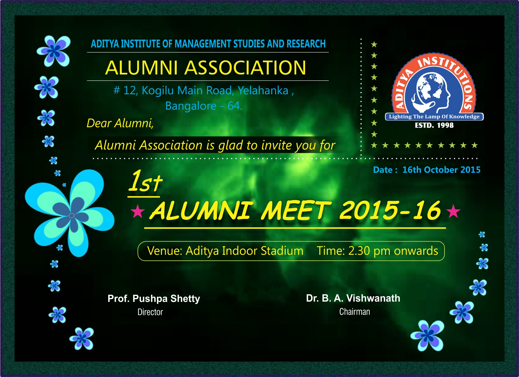 Alumni meet 2015-2016 invitation